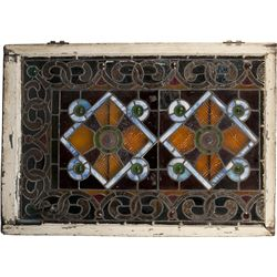 Wood Framed Leaded Glass Window