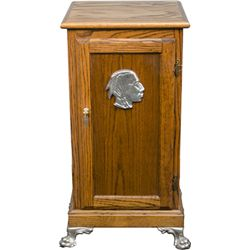 Oak Slot Machine Stand w/ O.D. Jennings Indian