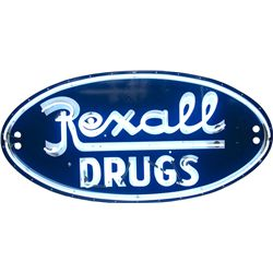 Rexal Drug  Oval Porcelain Sign w/ Neon