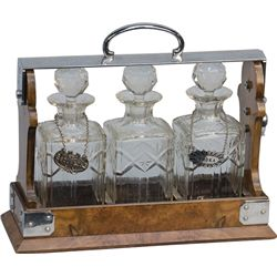 "Early ""The Tantalus"" English Locking Liquor Caddy"