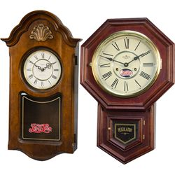 "Lot Of 2 Wooden ""Regulator Style"" Wall Clocks"