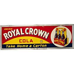 Drink Royal Crown Cola Embossed Self-Framed Tin Sign