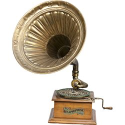 "Early Oak Columbia Phonograph Co. Hand-Crank ""The Gr"