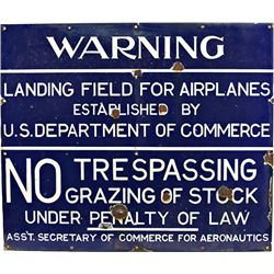 WARNING Landing Field For Airplanes  Porcelain Sign
