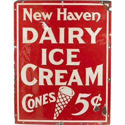 """New Haven Dairy Ice Cream Cones 5c"" Porcelain Sign"