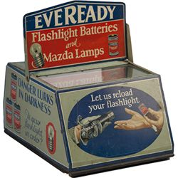 Vintage Eveready Flashlight Batteries And Mazda Lamps