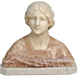 Italian Marble Figural Bust Of Young Woman