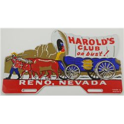 "Harold's Club or Bust!"" License Plate Topper"