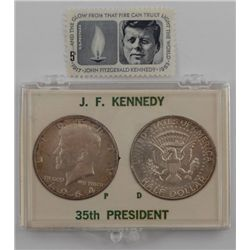 1964 Kennedy Half Dollars 1 P and 1 D and a Kennedy Stamp