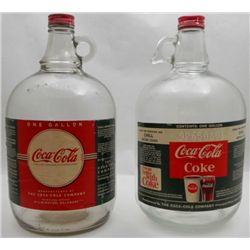 (2) One Gallon Glass Coca Cola Syrup Jugs