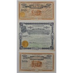 Three vintage Mining Stock Certificates