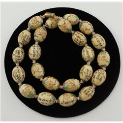 Vintage Hand Painted Asian Floral Porcelain Bead Necklace