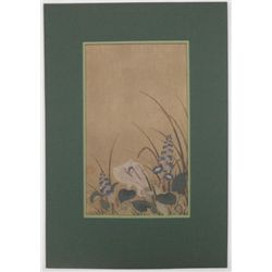 Japanese wood block print of white crane (Unknown artist)