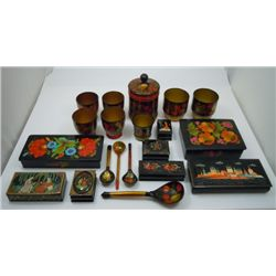 Russian (USSR era) Lacquer boxes & serving pieces