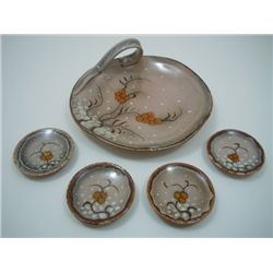 "Gouda ""Friso-Zenith"" small serving piece and four small dishes"