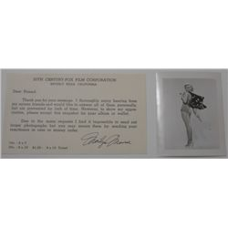 Marilyn Monroe 20th Century Fox fan mail response with photo