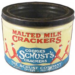 Schust's Malted Milk Crackers Store Tin