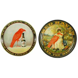 Two Red Raven Splits Tin Serving Trays