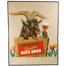 Bock Beer Die Cut Cardboard Sign