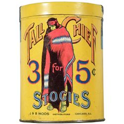 Extremely Rare Tall Chief Stoggies cigar tin