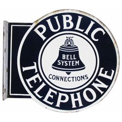 Public Telephone Porcelain Flange Sign