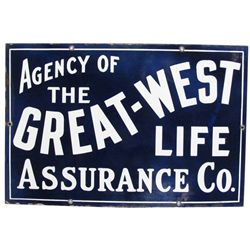 Agency of The Great-West Life Porcelain Sign