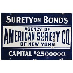 American Surety Co. Porcelain Sign