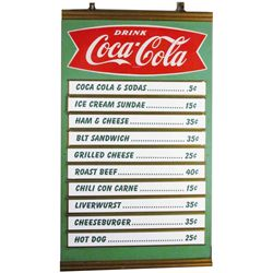 Coca Cola Menu Board Fishtail Logo