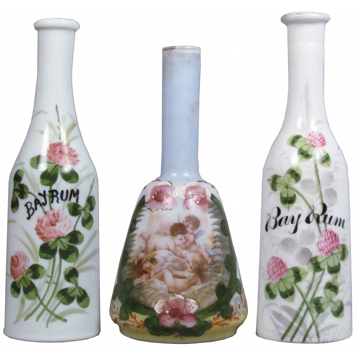 Three hand painted milk glass barber bottles for Hand painted glass bottles