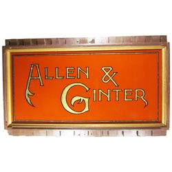 Allen & Ginter Reverse Glass Sign