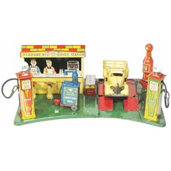 1940's Louis Marx Roadside Service Station Toy