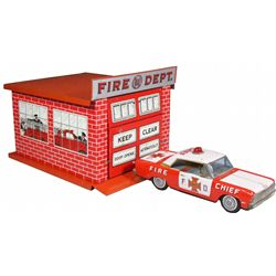 Tin Litho Toy Firehouse & Chiefs Car