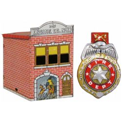 Fire Candy Container & Tin Toy Fire Badge Clicker