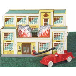 1940's Keystone Burning House with Fire Truck Toy