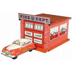 Cortland Tin Fire Station and Chief Car Toy