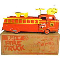 Louis Marx Pressed Steel Rider Fire Engine Toy