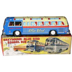 "1950's ""W"" Toys Tin Blue Bird Toy Bus"