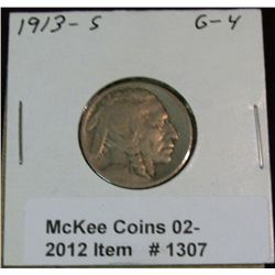 1307. 1913 S Type Two Buffalo Nickel. G-4.