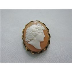 Victorian Carved Shell Cameo 14k Gold Pin MWF909