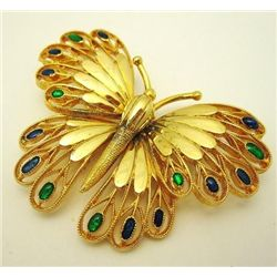 VINTAGE GOLD TONE BUTTERFLY PIN BROOCH WITH FOIL GLASS