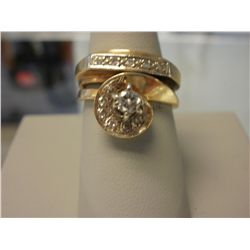 Two Band 1CT Diamond Estate Ring, 9.2g 14K gold