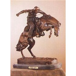 "Wooly Chaps Bronze Sculpture by Frederic Remington. 8.5""H x 7""L x 4""W"