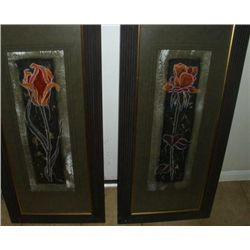 "2 Original Hand Painted Paintings ""Midnight Rose"" & ""Midnight Blue"""