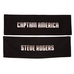 "Pair of director's chair backs: ""Captain America"" and ""Steve Rogers"""