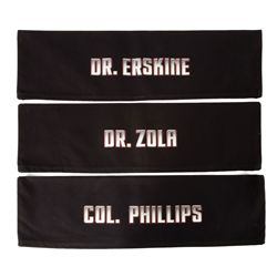 "Three (3) director's chair backs: ""Col. Phillips,"" ""Dr. Erskine,"" ""Dr. Zola"""