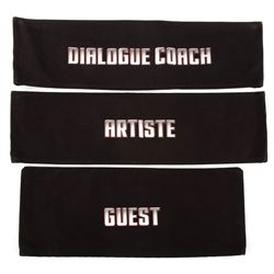 "Collection of director's chair backs: 2 ""Guest,"" 10 ""Artiste,"" 1 ""Dialogue Coach"""