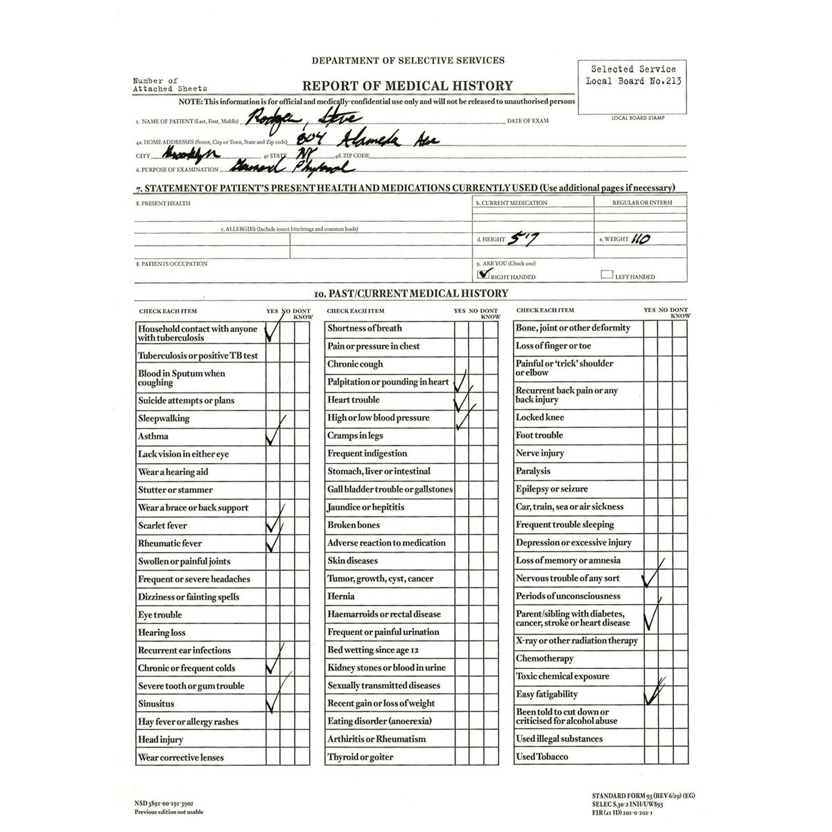 steve rogers physical exam sheet 4f rejection form with 1a and