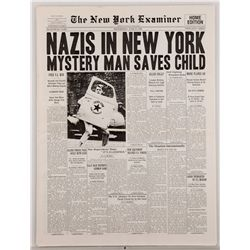 "Hero New York Examiner newspaper with ""Nazis in New York"" headline"