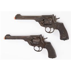 Pair of antiqued resin prop Webley Mark 6 .455 caliber six-shooters