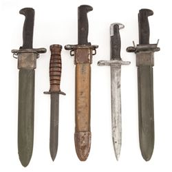 Five bayonets: (2 real, 1 resin, 2 rubber)